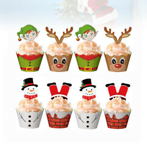 24-48-Christmas-Cake-Wrappers-Cake-Toppers-Decor-Cupcake-Wrappers-and-Cake-Picks