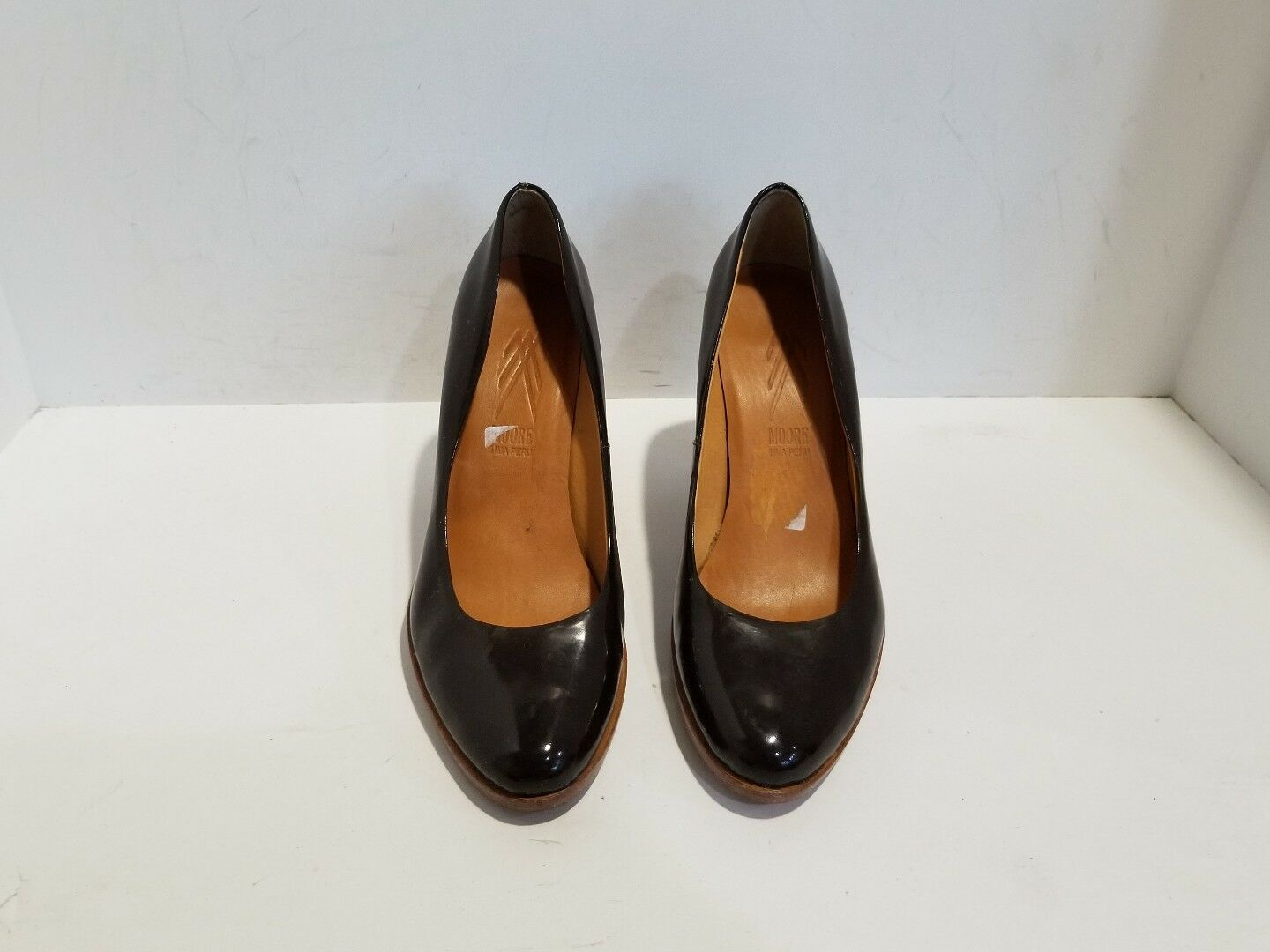 MOORE Hels womens Brown Patent Leather Hels MOORE Size 7 M f94278