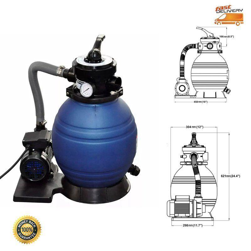 400 W Sandfilterpumpe Sandfilter Poolpumpe Poofilter Filteranlage Filter 7 m³ h