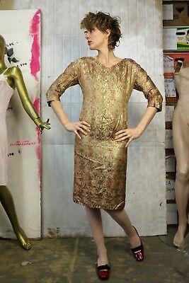 Donna Vestito Abito Ricami Asiatico Golden 60er Truevintage 60s Beige Oro Dress-mostra Il Titolo Originale Promuovi La Produzione Di Fluidi Corporei E Saliva