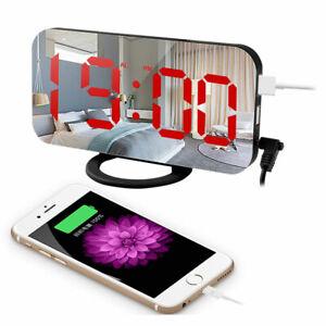 DUAL-USB-Digital-Orologio-Specchio-LED-Snooze-sveglia-tempo-la-modalita-notte-Rosso-Grande
