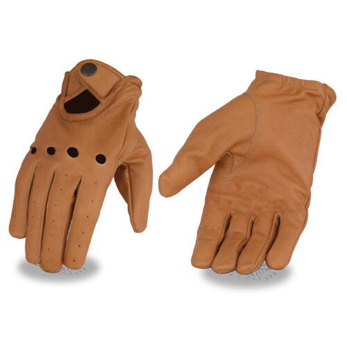 Milwaukee Leather Men's Saddle Tan  Driving Gloves W// Wrist Snap **MG7508