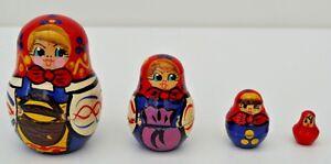 Authentique Lot De Quatre Petites Poupées Russes-super état!-afficher Le Titre D'origine Pour Effacer L'Ennui Et éTancher La Soif