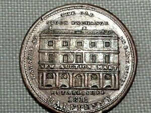 Middlesex-London-Conder-Token-1811-Half-1-2-Penny-Old-Stock-Exchange-Thomas-Wood