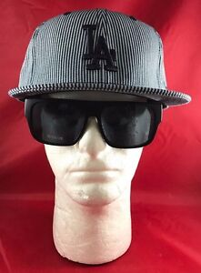 New Era 59Fifty MLB LA Dodgers Fitted Hat Black  amp  Gray Pinstripe 466b1e4f465