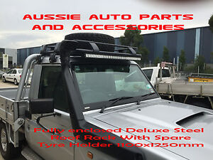 Toyota-Landcruiser-79series-UTE-Cabin-Steel-Roof-Rack-Cage-Spare-Tyre-Holder