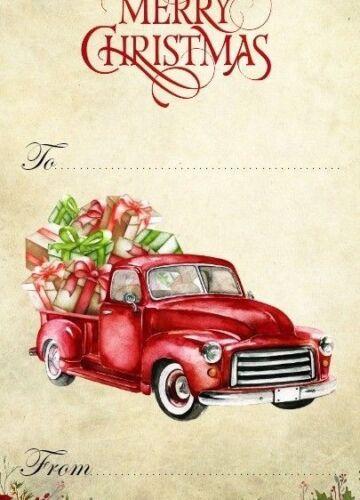 American Vintage Noël camion rouge cadeau tags /& Ruban
