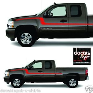 Flex Body Side Vinyl Graphic Stripes Decals  Chevy - Chevy silverado stickers
