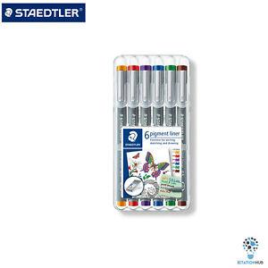 Staedtler-Pigment-Liner-Fineliner-6-Colour-0-5mm-Pen-Set-Draw-Sketch-Writing