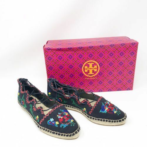 nuovo Tory Burch donna Sonoma Embroiderosso Ghillie Flat Espadrille sautope Sz 6.5 7