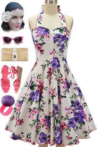 Mabel purple amp pink rose floral pinup halter sun dress w buttons