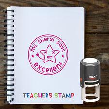 Teachers Custom Stamp Excellent Teacher Name Round Rubber Self Inking Stamp
