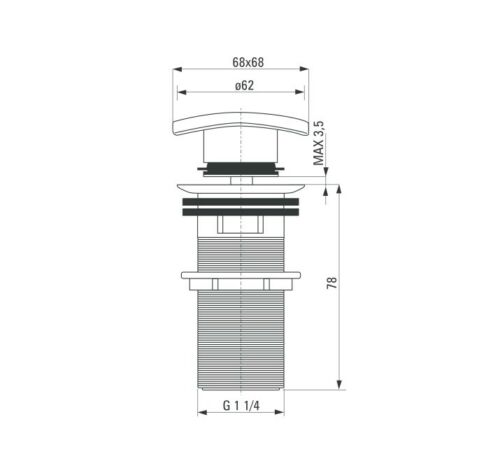 Beckenstopfen quadratisch mit Überlauf Click-Clack Stecker Waschbecken schwarz