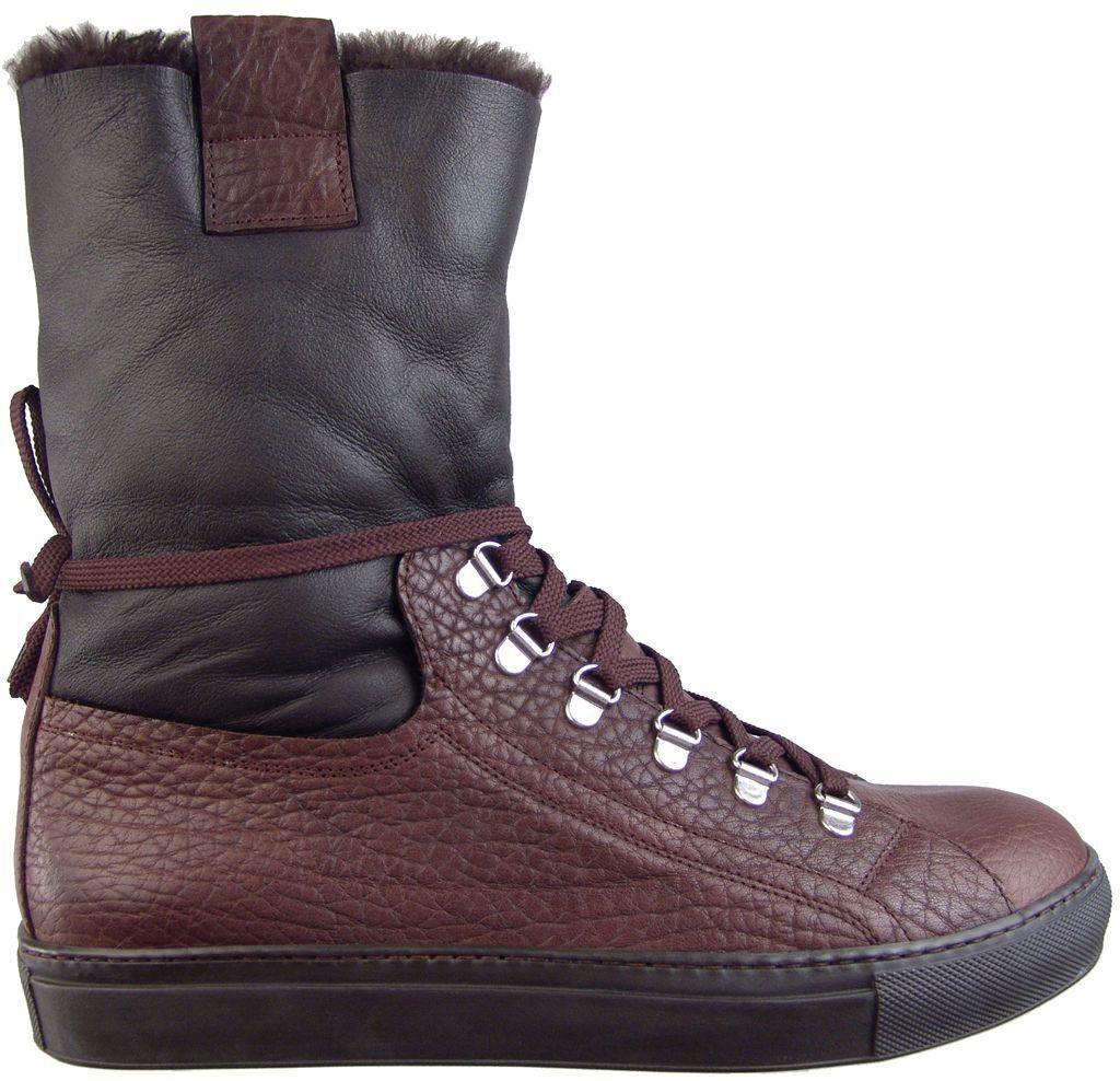 960 CESARE PACIOTTI SHEARLING  LEATHER stivali US 7 ITALIAN DESIGNER MENS scarpe