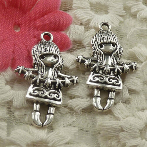 Free Ship 30 pieces Antique silver girl charms pendant 33x21mm H-4719