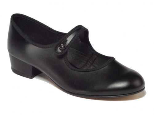 Black low heel button bar character dance shoes - Size child 10