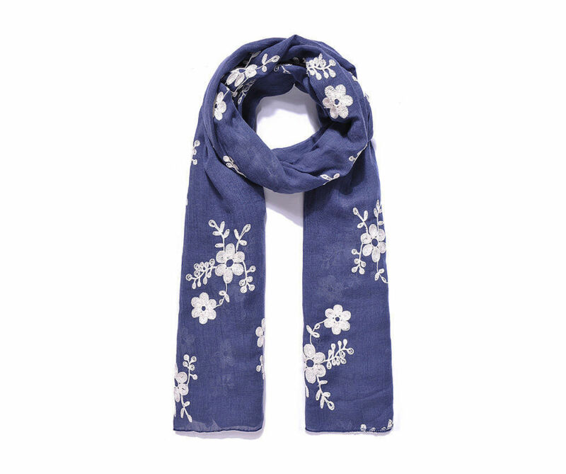 Blue Floral Embroidered Long Scarf Shawl Birthday Present Christmas Gift