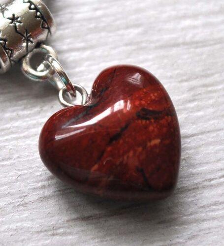 Piedras Preciosas Colgante Plata Antigua PL Luna Corazón Collar Regalo señoras de curación reiki