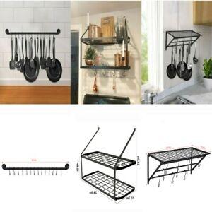 Details About Wall Mount Pot Pan Utensils Rack Kitchen Cookware Holder Hanger Shelf Organizer