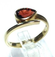 9ct Gold Garnet Pear Solitaire Ring Uk Size N 1/2, New, January Birthstone.