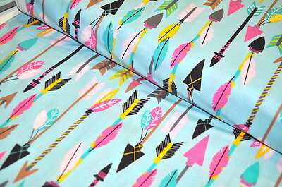 BLEND USA DESIGNER FABRIC LUCKIE WESTERN TEXAS INDIAN ARROWS FEATHER