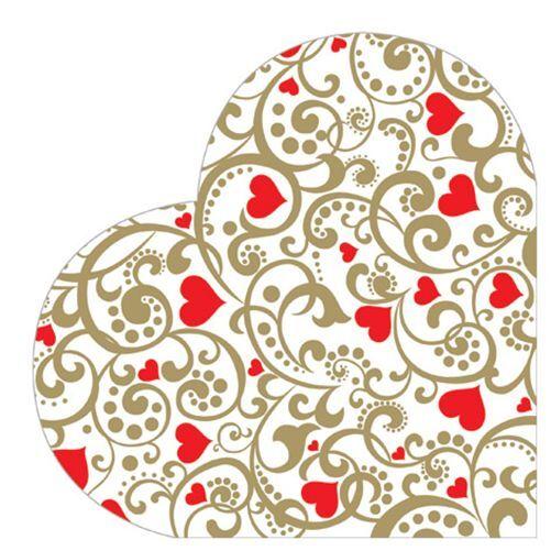 12 Paper Napkins CHIC HEARTS Round HEART Decoration DECOUPAGE Valentine's Day /D