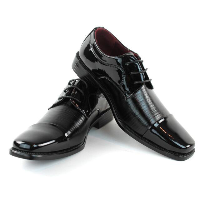 Alberto Fellini Mens Lace Up Moc Toe Shinny Shoes,Black11,13