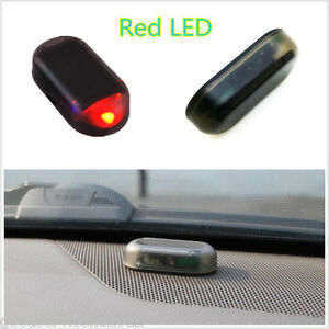 new solar powered auto interior red led alarm warning anti theft flashing light ebay. Black Bedroom Furniture Sets. Home Design Ideas