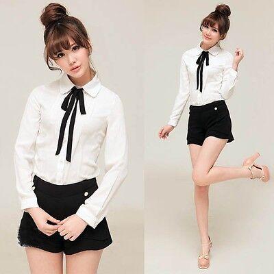NEW Womens Bowknot Baby Collar Long Sleeve OL Chiffon Button Shirt Blouse Tops