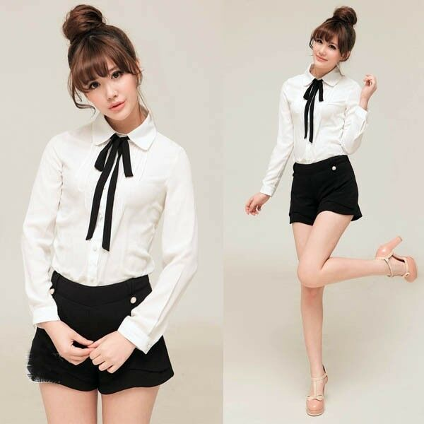 Womens Bowknot Baby Collar Long Sleeve OL Chiffon Button Shirt Blouse Tops qwgl