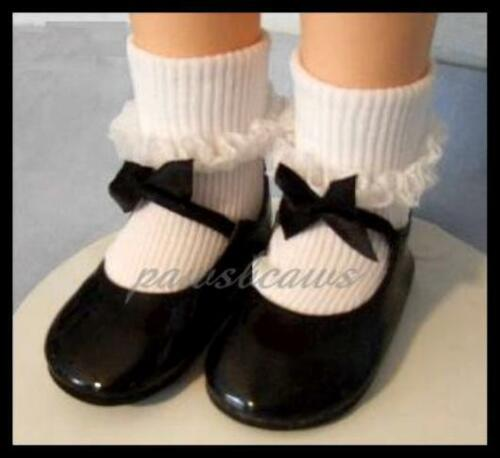 Black Patent BOW SHOES 3.75 x 1.5 inches fit CHARMIN CHATTY Doll U.S Ships Free