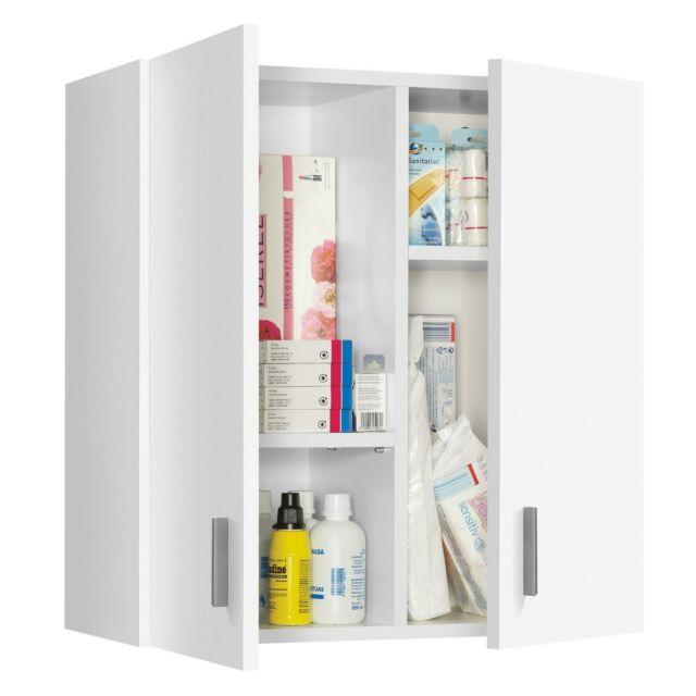 White Vita Utility Wall Hung 2 Door Storage Cupboard Unit Melamine