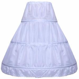 Children-Petticoat-3-Hoop-Skirt-Flower-Girls-Half-Slip-Crinoline-Underskirt
