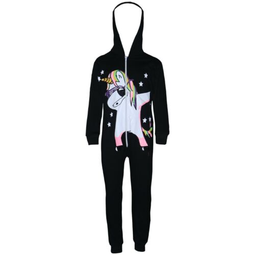 Kids fille 100/% coton Licorne DAB Noir A2Z Onesie One Piece All In One Playsuit