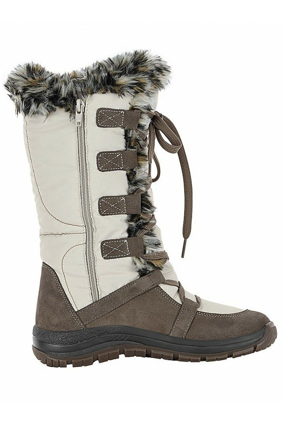 Heine Zip Up Snow Boots Cream LN181 AF 04