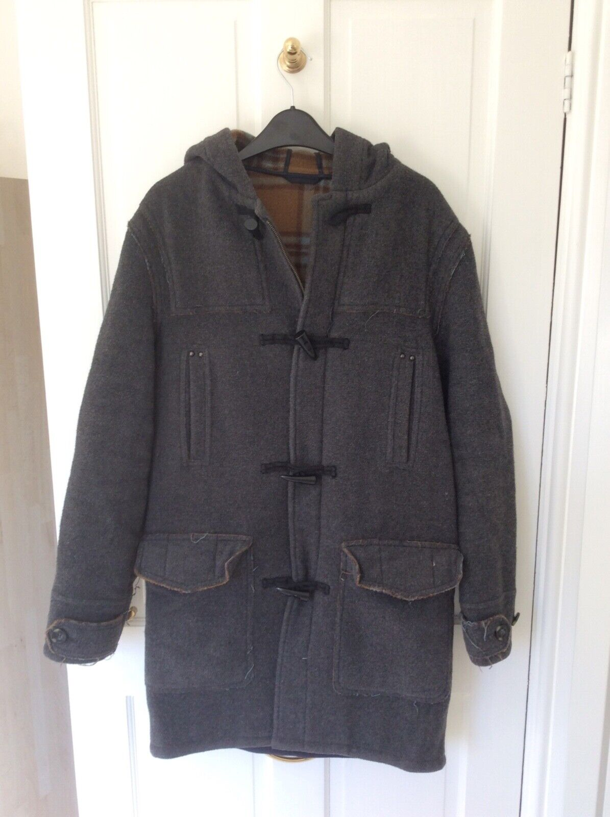 Mens Grey Toggle Fastening Hooded Duffle Wool Coat, Size Small