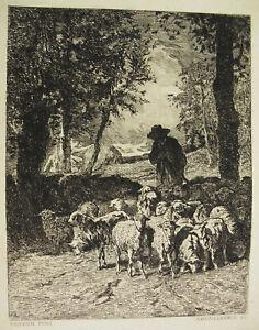 Engraving-c1874Retour-of-Herd-Ap-Troyon-Writer-Laguillermie-Shepherd
