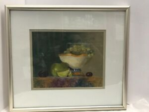 Vintage-Original-Oil-Painting-Still-Life-Fruit-Bowl-Signed-Matted-Framed-15-x-14