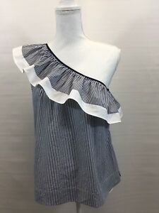 9fdcbe77ff7 NEW J.Crew One-Shoulder Ruffle Top in Stripe Size 6 White Navy Item ...