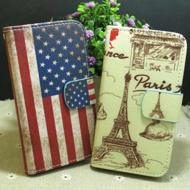 Paris Eiffel Tower US flag Wallet Pouch Stand flip case cover for Samsung Phone