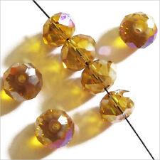 20 perles à Facettes Rondelles 8 x 6 mm en Cristal Topaze AB