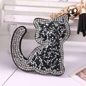 Rhinestone-Tassel-Cat-Charm-Key-Chain-Ring-Purse-Bag-Car-Pendant-Handbag-Keyring