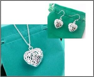NEW-Valentine-Gift-jewelry-925silver-Carved-Heart-Chain-necklace-amp-Earrings-Set