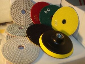 "18+1pc 4"" Wet Diamond Marble Granite Polishing Pad/Disc glass concrete quartz"