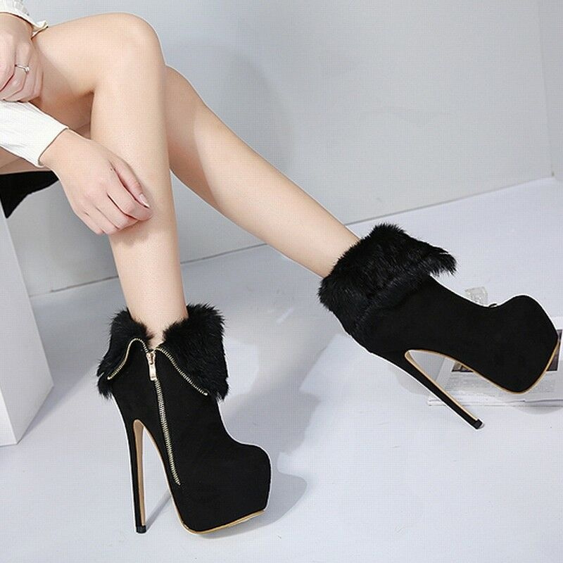 Bottines Boots Sexy Simili Fourure et Daim Haut Talon Aiguille 16Cm!du 34 au 40!