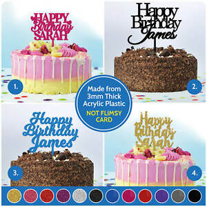 Image Is Loading Happy Birthday ANY NAME PERSONALISED Custom Cake Topper