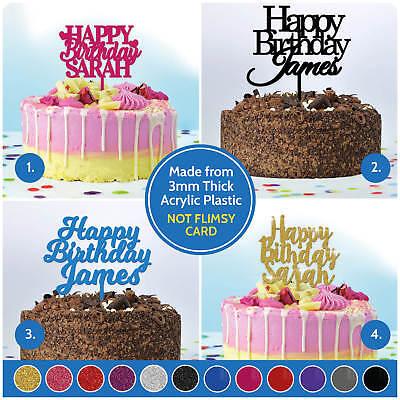 Custom Birthday cake topper Personalised name word phrase glitter card