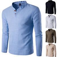 Man Stylish Long Sleeve T-Shirt V-neck Casual Shirts Mens Slim Fit POLO Tee Tops