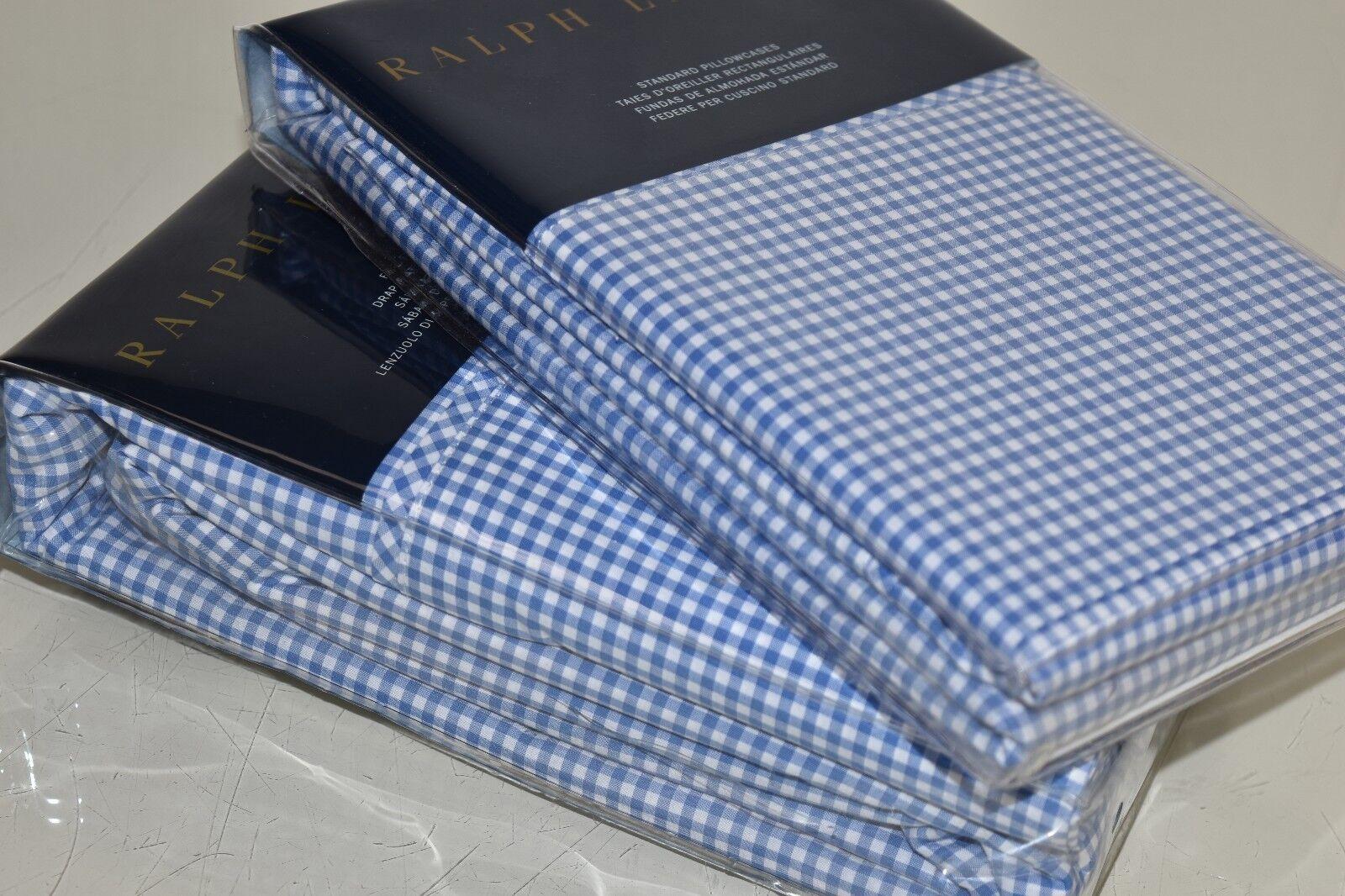 245 NEW Ralph Lauren CLASSIC GINGHAM French Blau Whit FULL FLAT SHEET + 2 CASES
