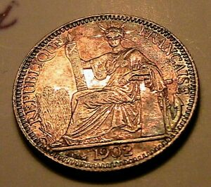 1902-French-Indo-China-Vietnam-10-Cent-CH-AU-Lustrous-Original-Tone-Silver-Coin